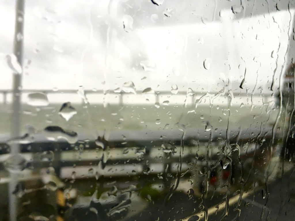 View of rain outside our bus window as we left the port of La Pallice, France.