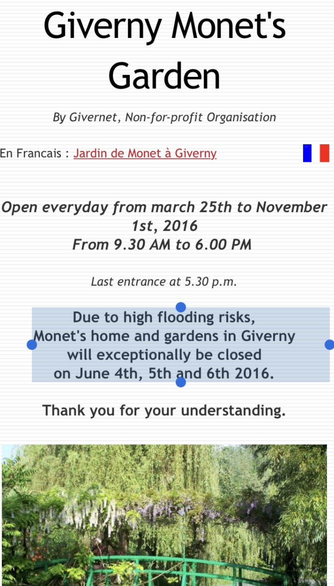 giverny closed flooding