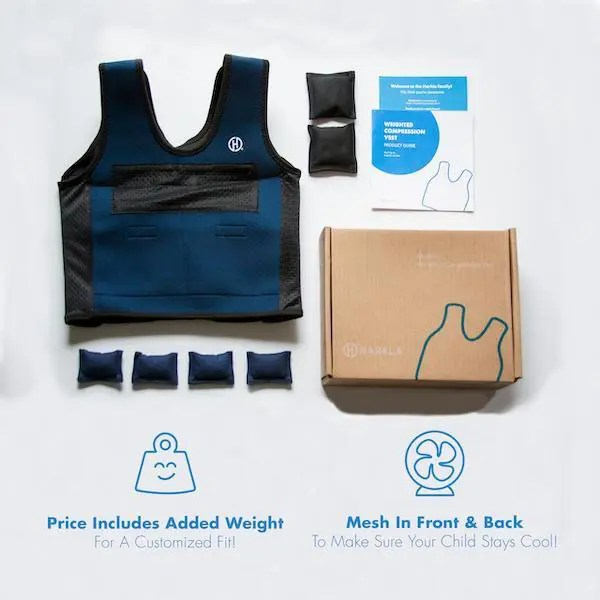 Proven Way to Reduce Anxiety for Autism!  One of the Favorite tools for deep pressure therapy & calming are weighted compression vests for autism... Harkla weighted compression vest review. #weightedvest #autismparenting #autism