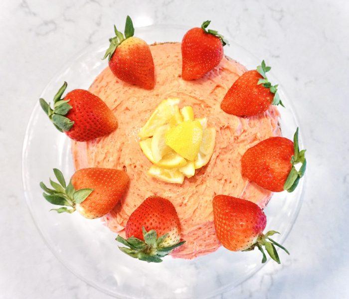 Summertime Pink Lemonade Cake With Easy Homemade Strawberry Frosting