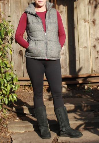 Puffer Vest and Wine color Long Sleeve shirt from Old Navy