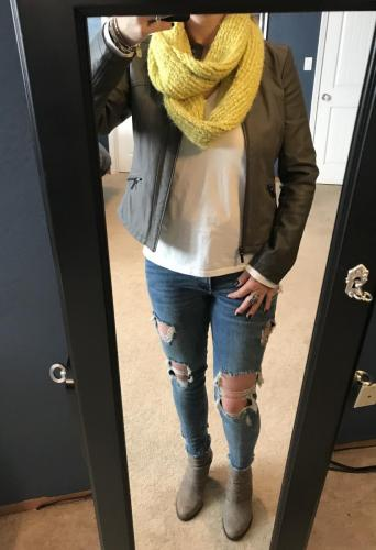 Yellow scarf and brown bomber jacket from Target. Distressed Jeans from Express