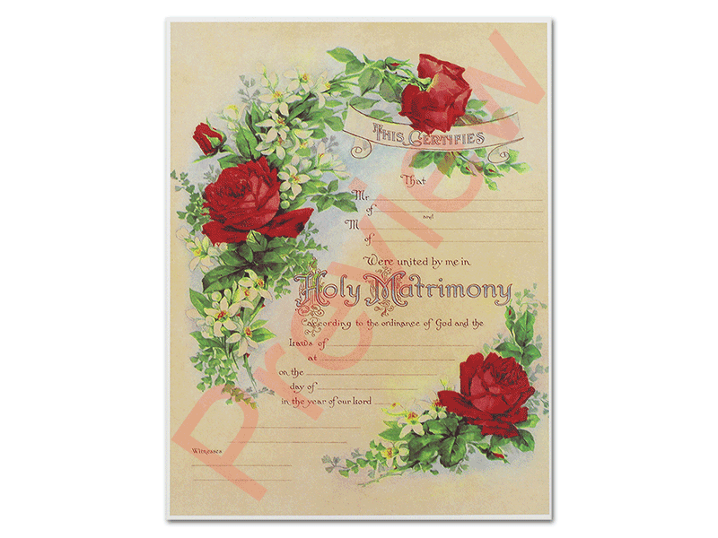Fancy Floral Certificate Red Rose  Universal Life Church