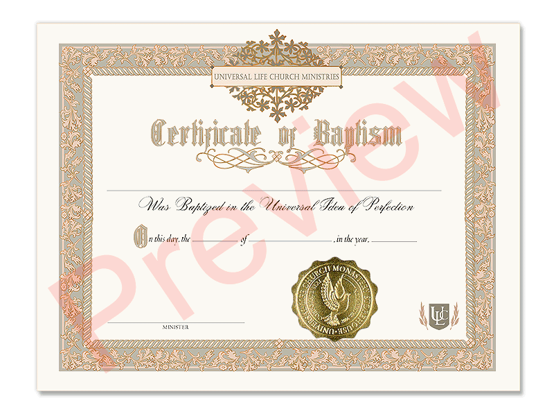 Certificate of Baptism  Universal Life Church