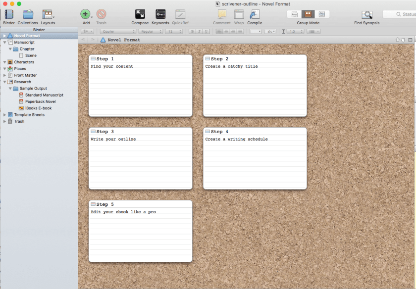 Using a tool like Scrivener makes outlining your ebook simple