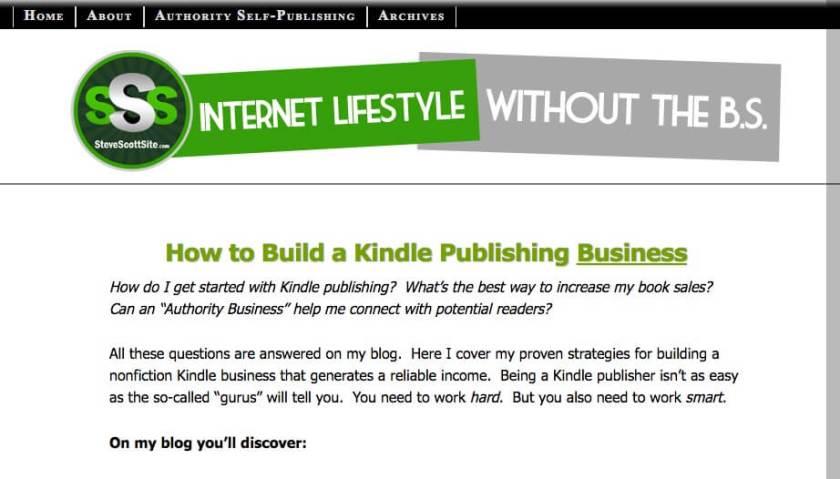 Steve Scott's website to promote his books