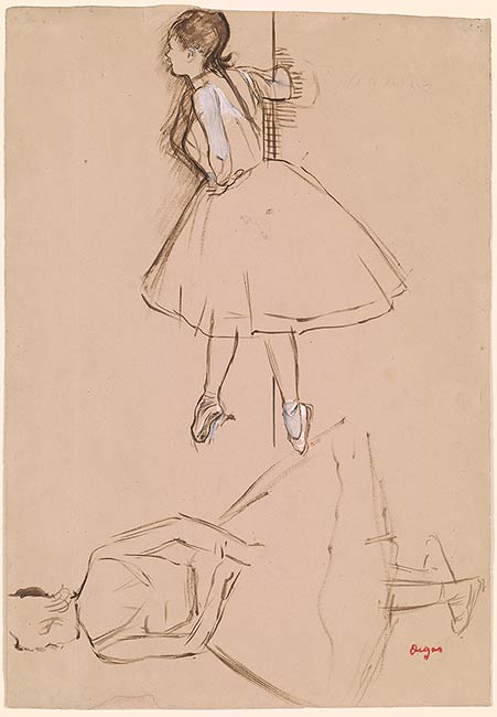 Edgar Degas  Two Studies of a Ballet Dancer  Drawings