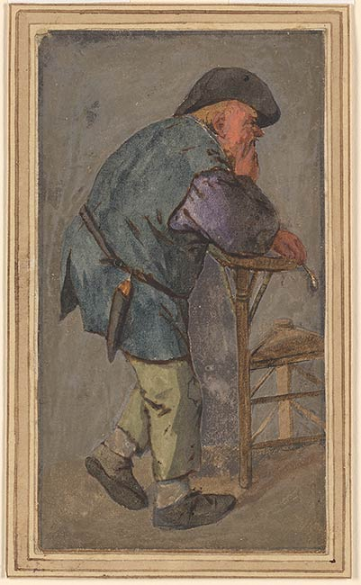 Cornelis Dusart  Peasant with a Pipe in his Hand Leaning on the Back of a Chair  Drawings