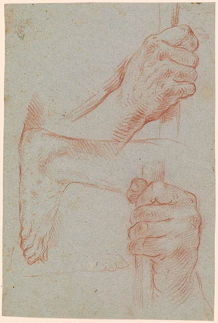Italian School  Two Studies of a Hand Holding a Staff