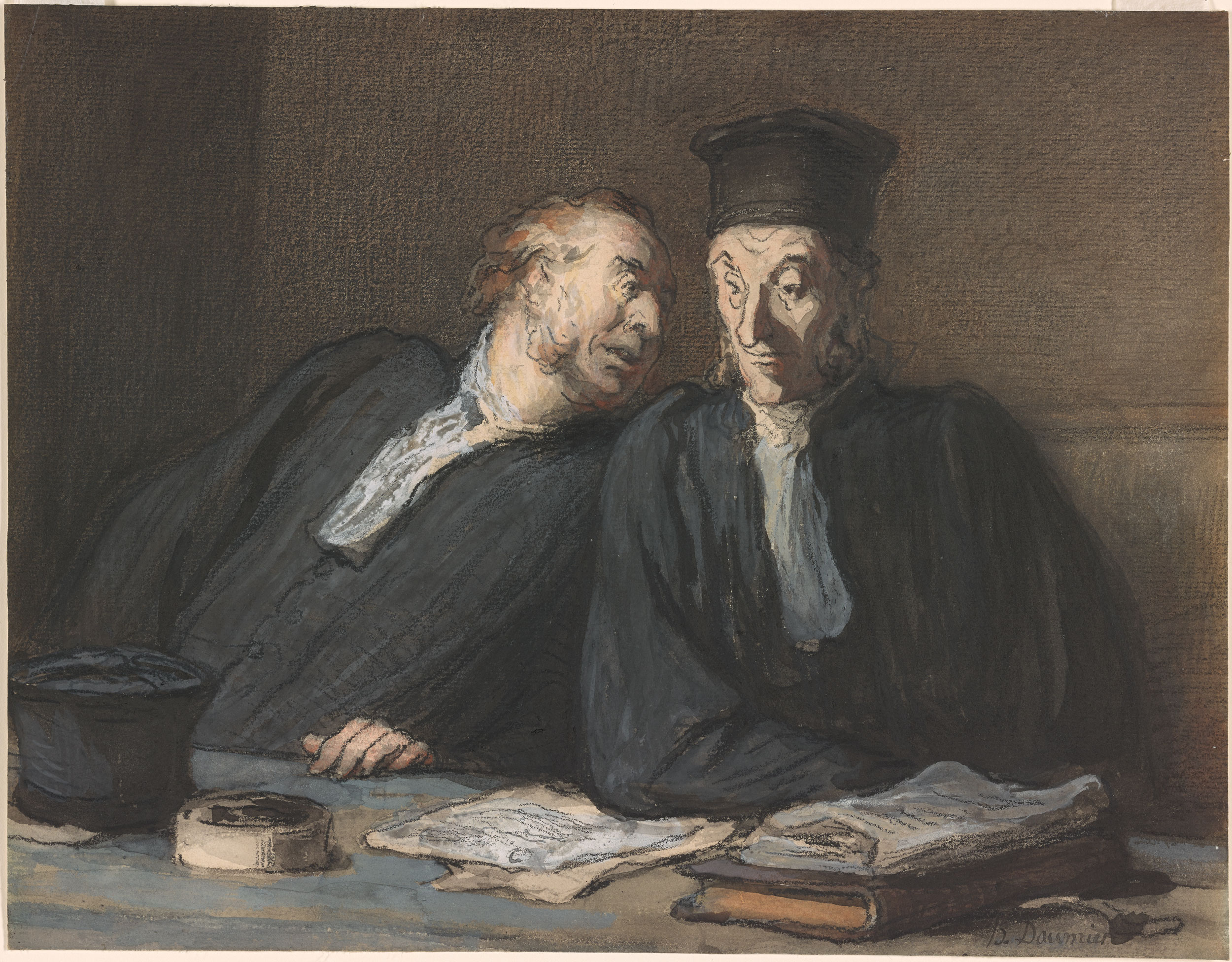 Honor Daumier  Two Lawyers Conversing  Drawings Online