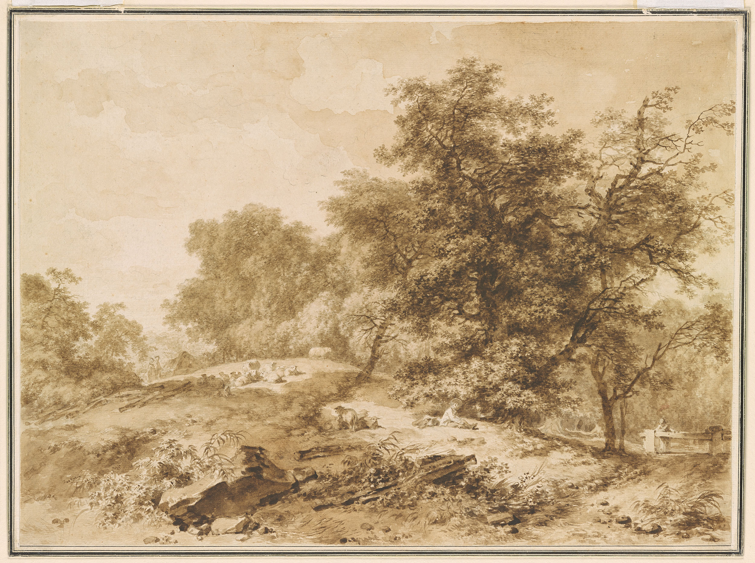 JeanHonor Fragonard  Landscape with flocks and trees