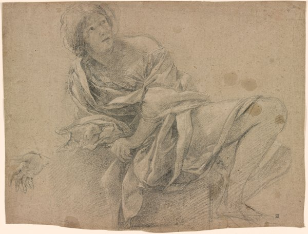 Simon Vouet Study Of Woman Seated Step With