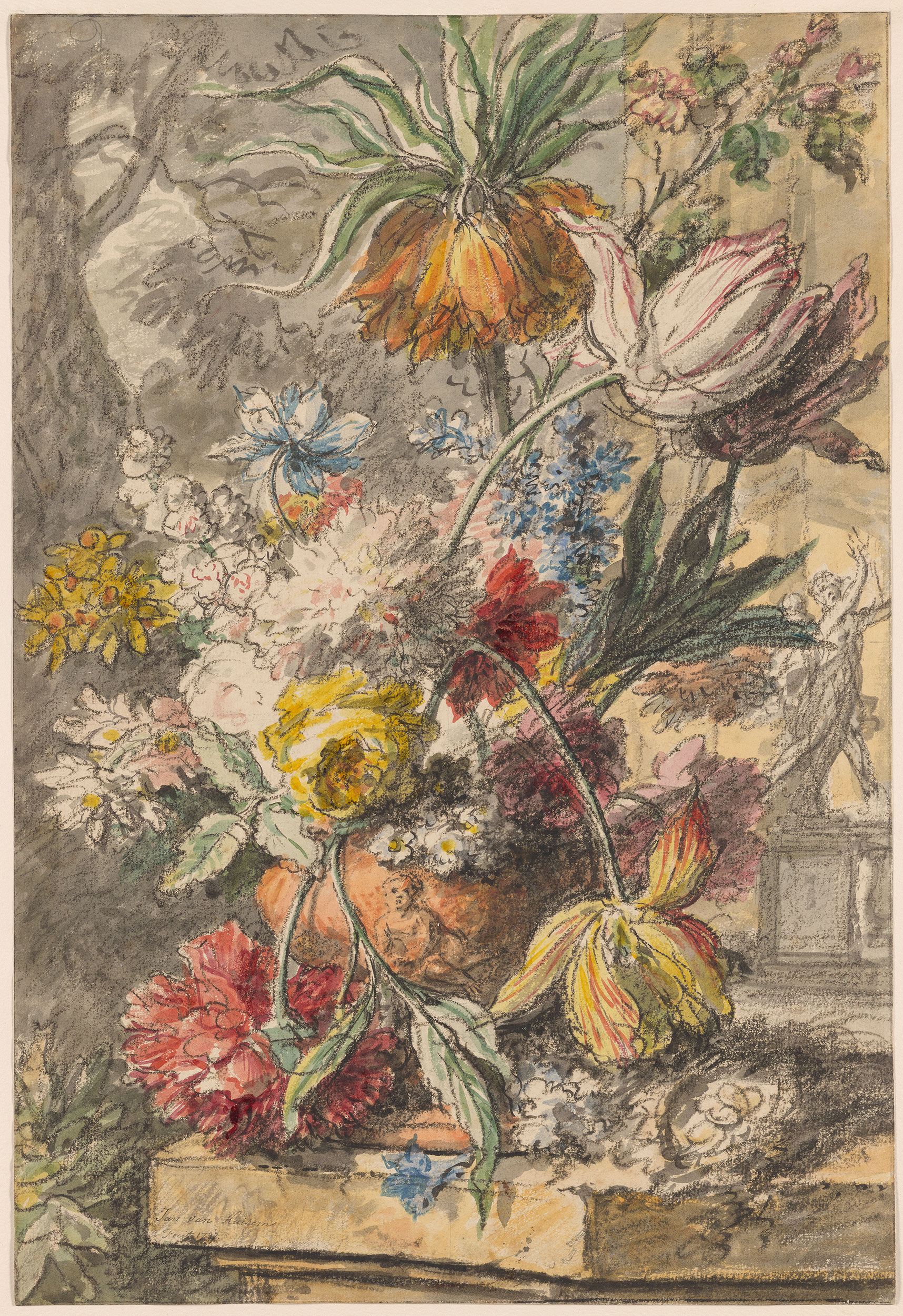 Jan van Huysum  Flowers in an Urn and Birds Nest on a Stone Plinth with a Statue of Apollo