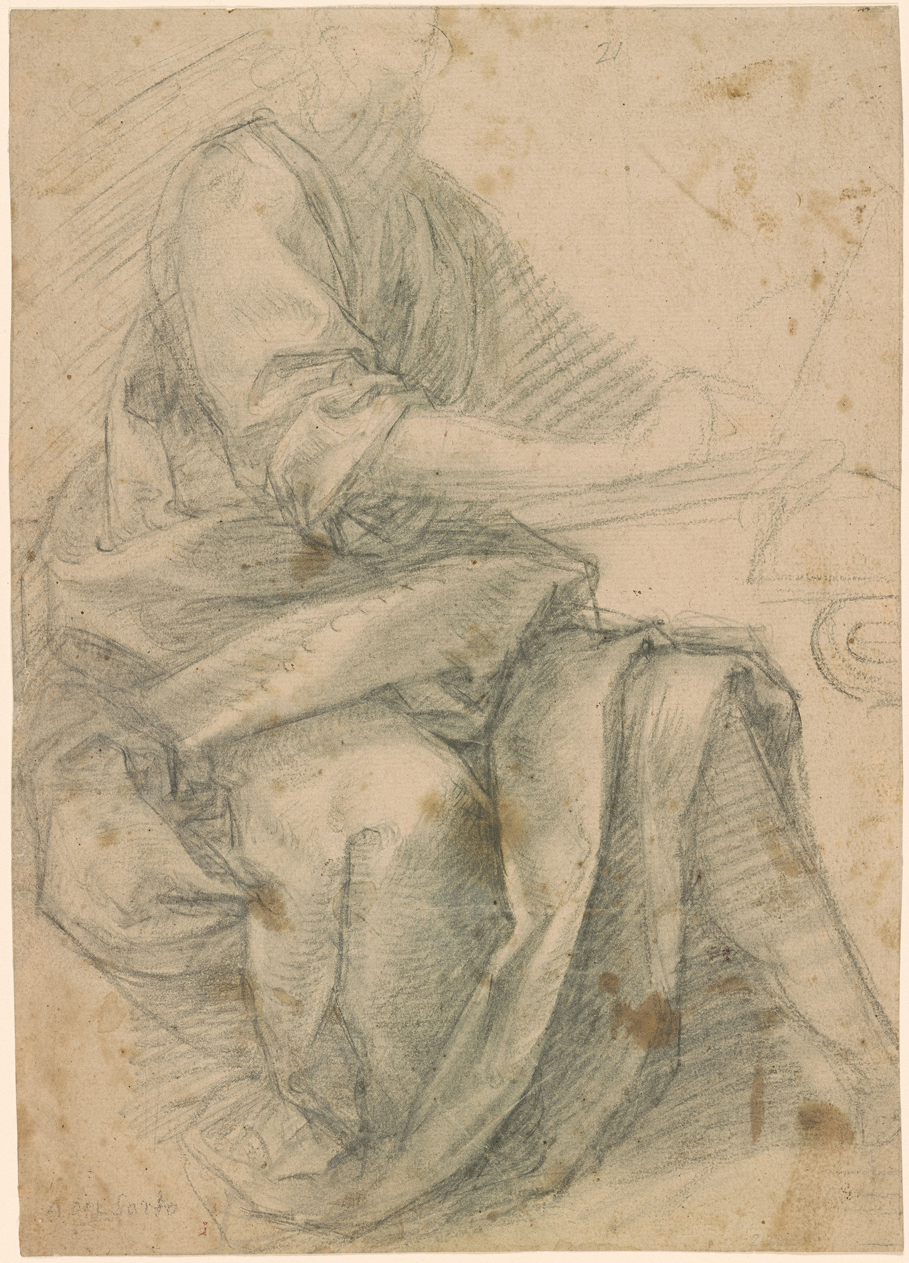 Style of Andrea del Sarto  Seated Figure Turned to the