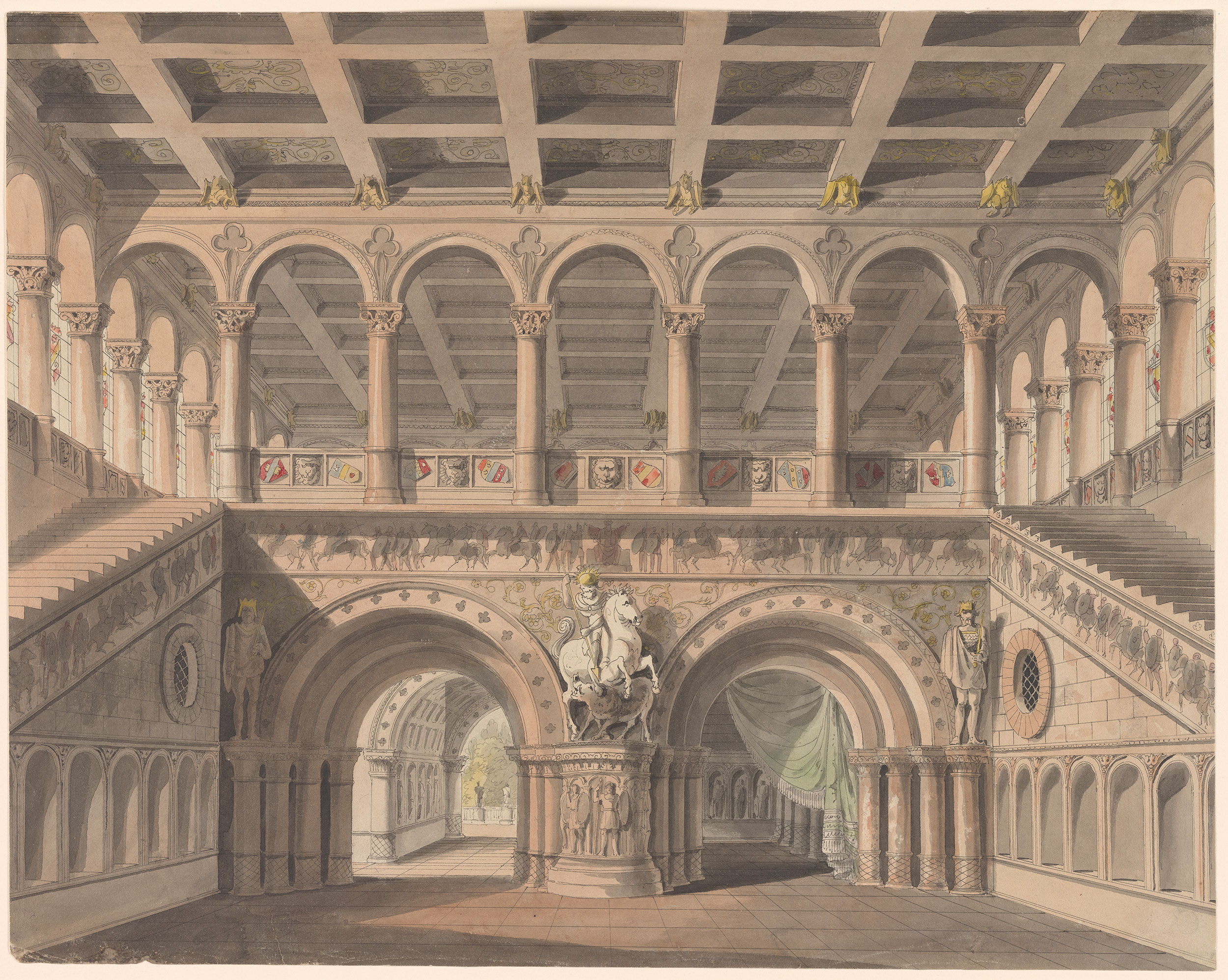 Karl Friedrich Schinkel  Stairhall from King Yngord Act I  Drawings Online  The Morgan