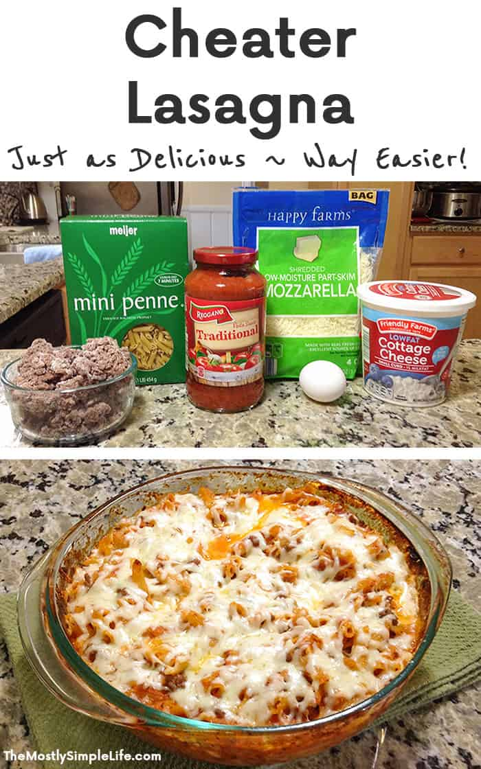 Cheater Lasagna | Love this easy and quick family dinner! It takes way less time than classic lasagna and tastes just as good! It's on my list of freezer meals too, It's perfect to bring for new moms, or just to make ahead. O, and it's cheap too! :)