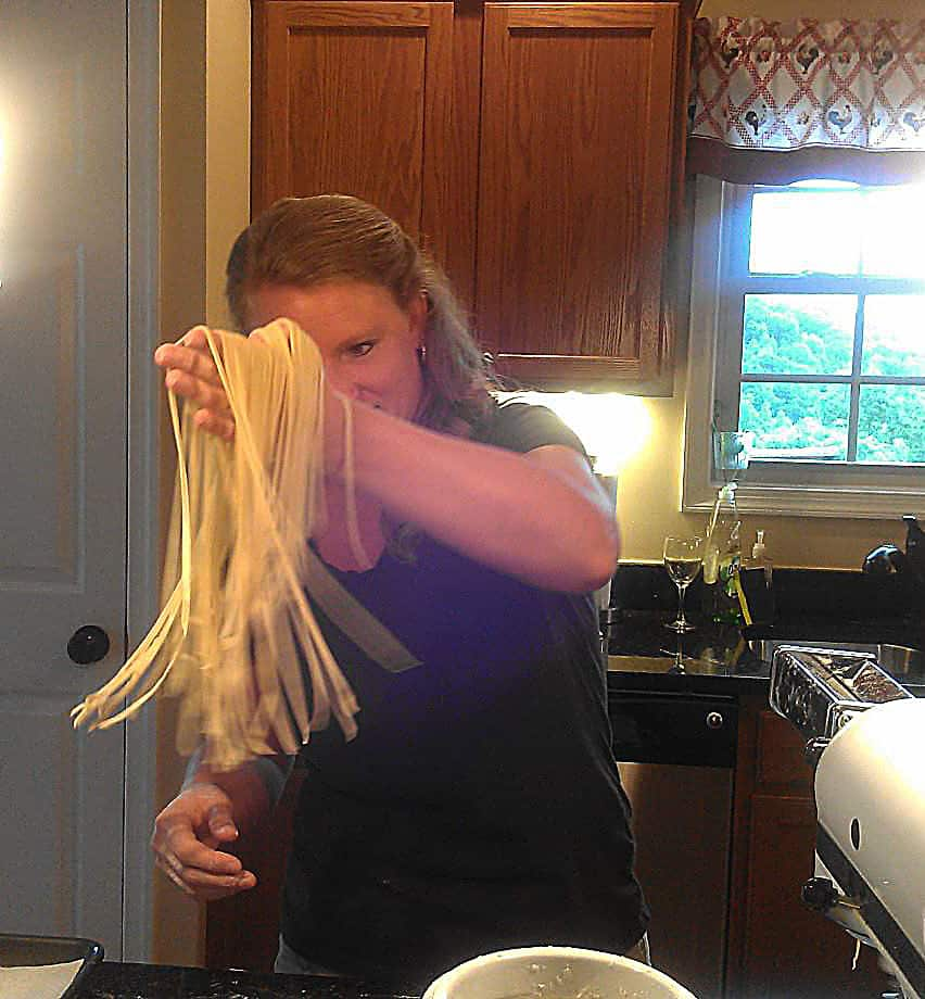 Debbie making pasta