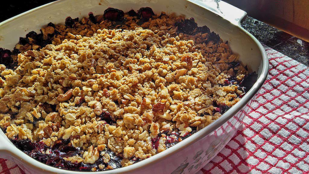 Celebrate your favorite summer berry with this blueberry crisp. Warm tart blueberries topped with a pecan cinnamon and oat topping. | TheMountainKitchen.com