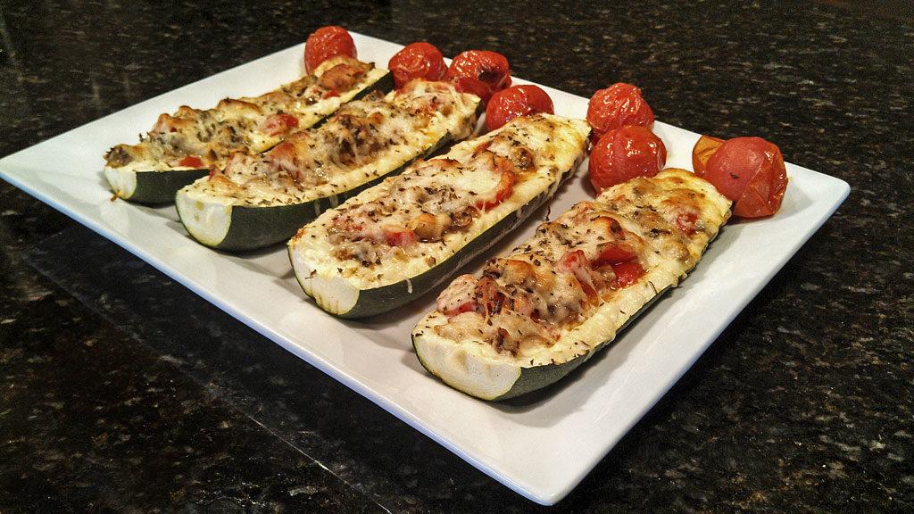 Italian zucchini boats ready to eat