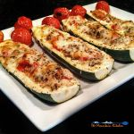 These Italian zucchini boats are filled with sauteed mushrooms, onions and honey roasted tomatoes and cheese. A quick and easy low-carb meal! | TheMountainKitchen.com