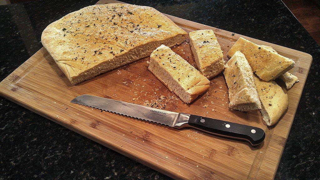Homemade Focaccia Bread ready to eat