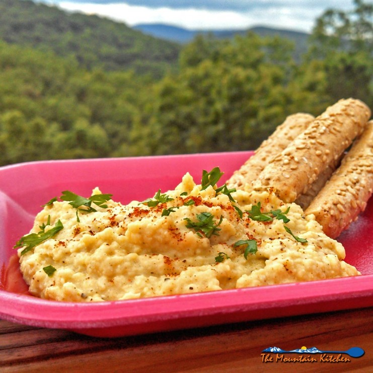 The fall weather promotes good picnicking weather. Try making this hummus dip flavored with sesame oil, garlic and cumin. It's Tahini Free! | TheMountainKitchen.com