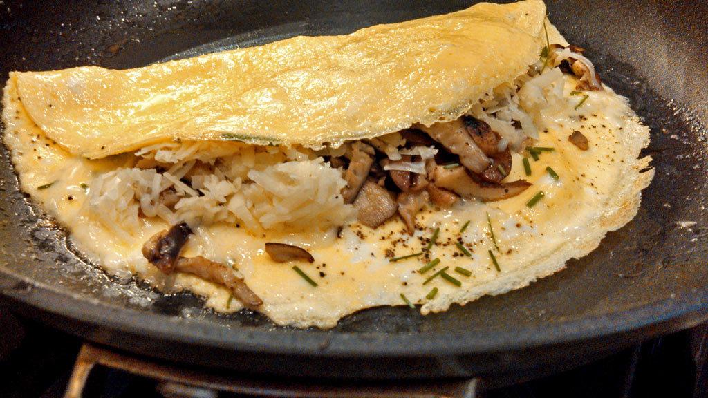 shiitake mushroom omelette in pan