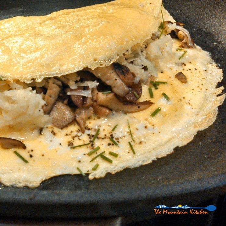 shiitake mushroom omelettes with cheese