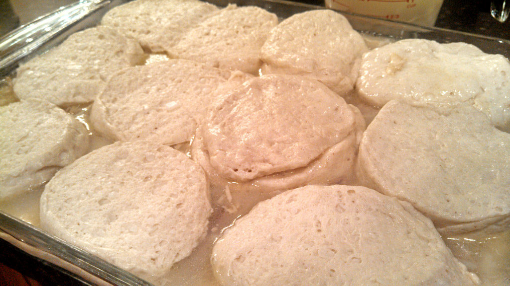 raw biscuits on top of rice mixture
