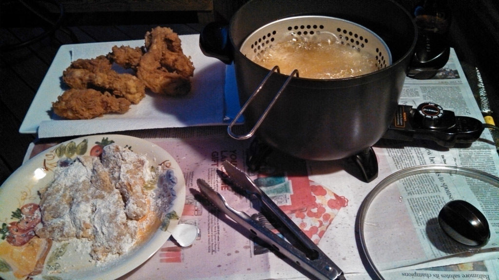Nothing like mountain fresh fried chicken, cooked outside in a deep fryer. The view while cooking wasn't too bad either. You can't beat it!!   TheMountainKitchen.com