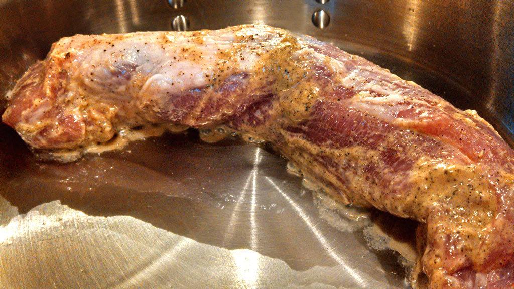 tenderloin browning in pan