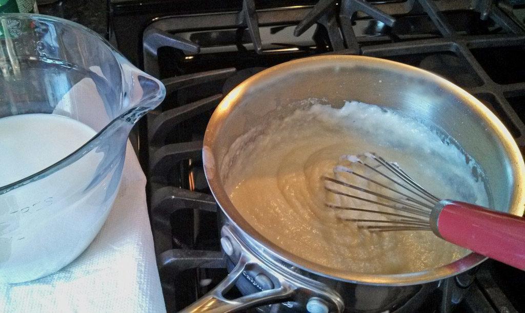 bechamel sauce in pot