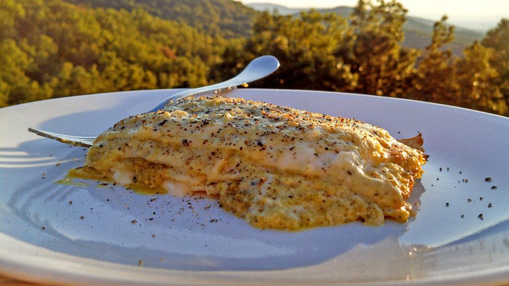 pesto lasagna with mountain view