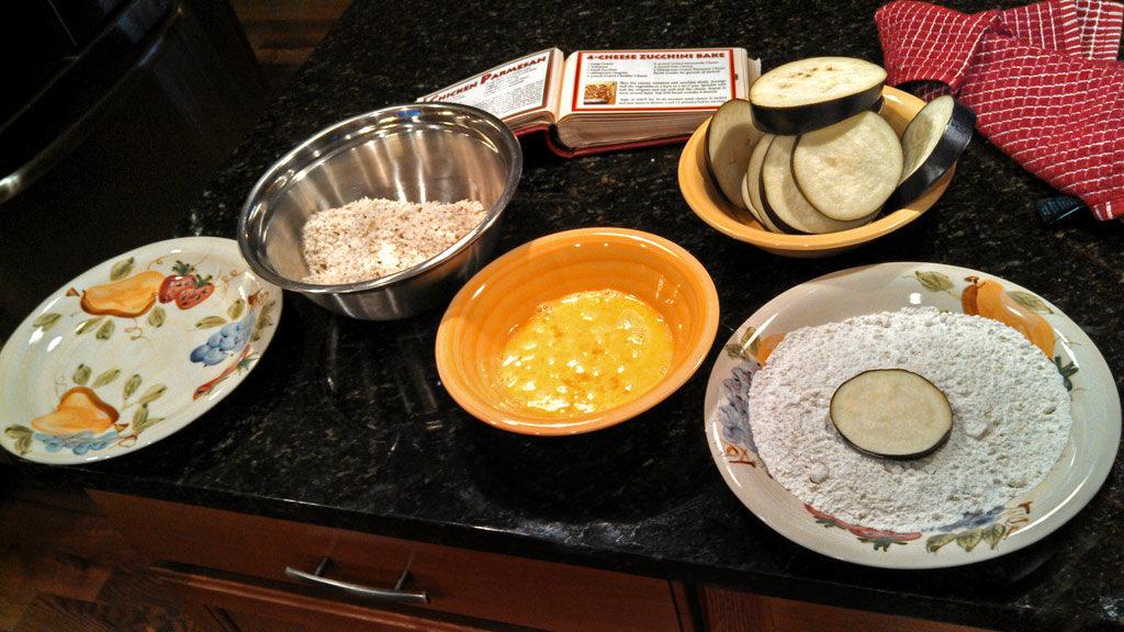 breading station for eggplant slices