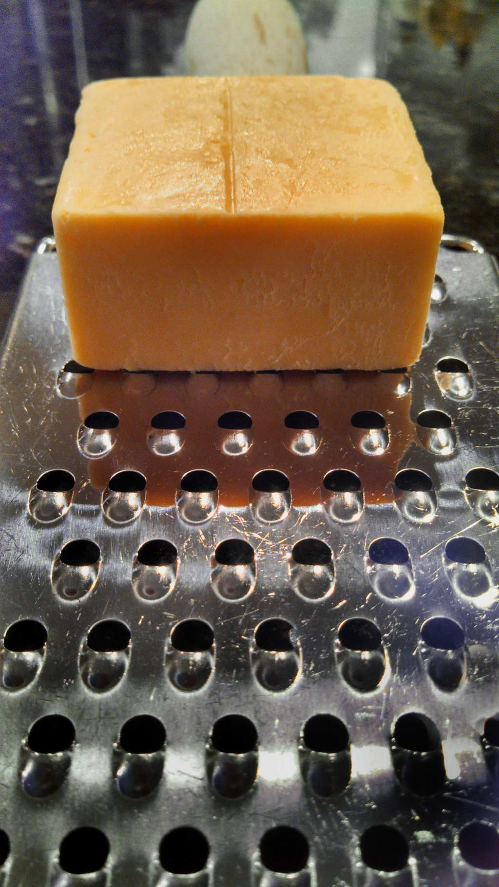 To make your cheese grating easier, spray your cheese grater down with a little non-stick cooking spray before you get started Great tip that saves time!