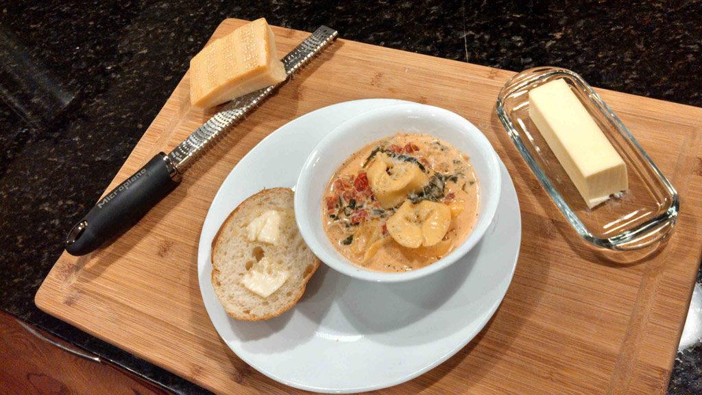 creamy tortelloni soup ready to eat