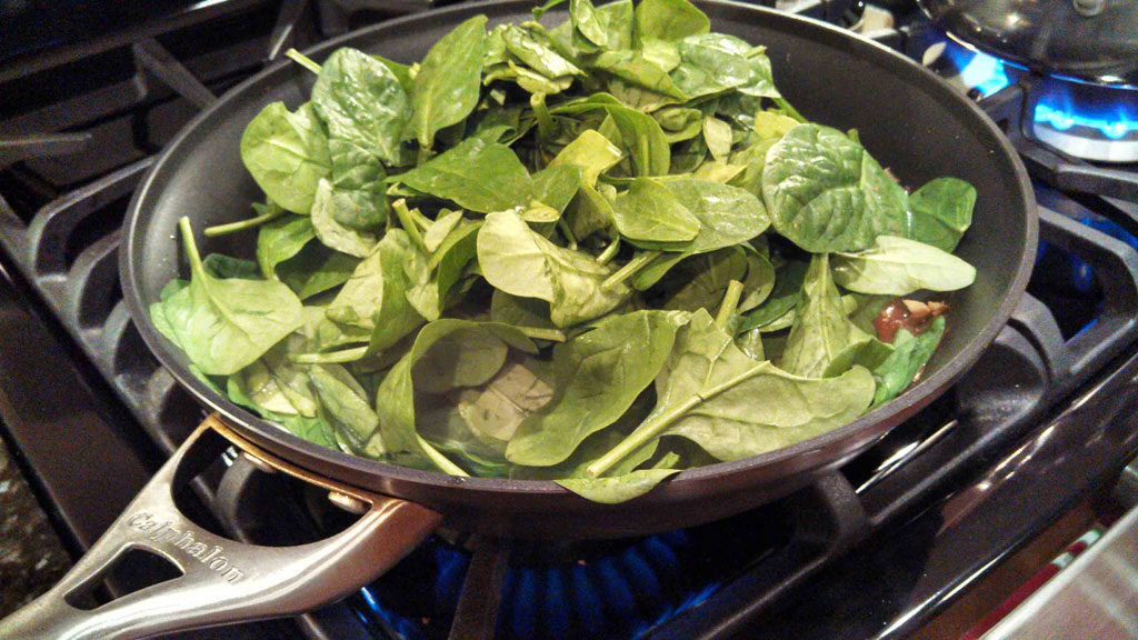 spinach added to skillet