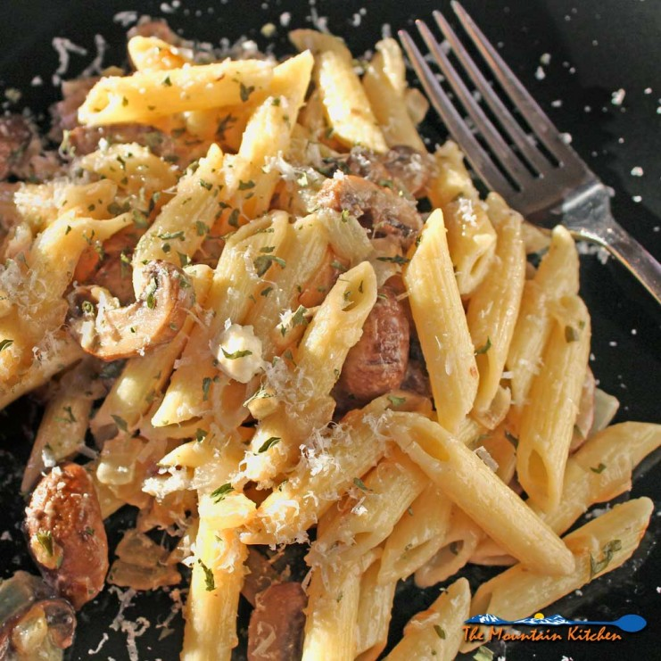 Penne With Mushrooms Onions and Goat Cheese