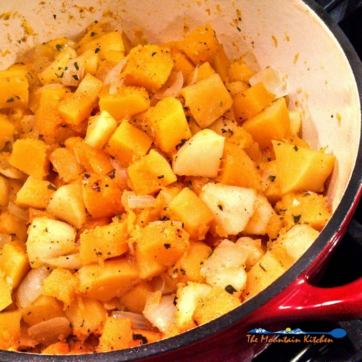 The sweet butternut squash, apples, and onions, cook down quickly in this Farmhouse butternut squash soup, into a thick, velvety soup laced with fresh sage. | TheMountainKitchen.com