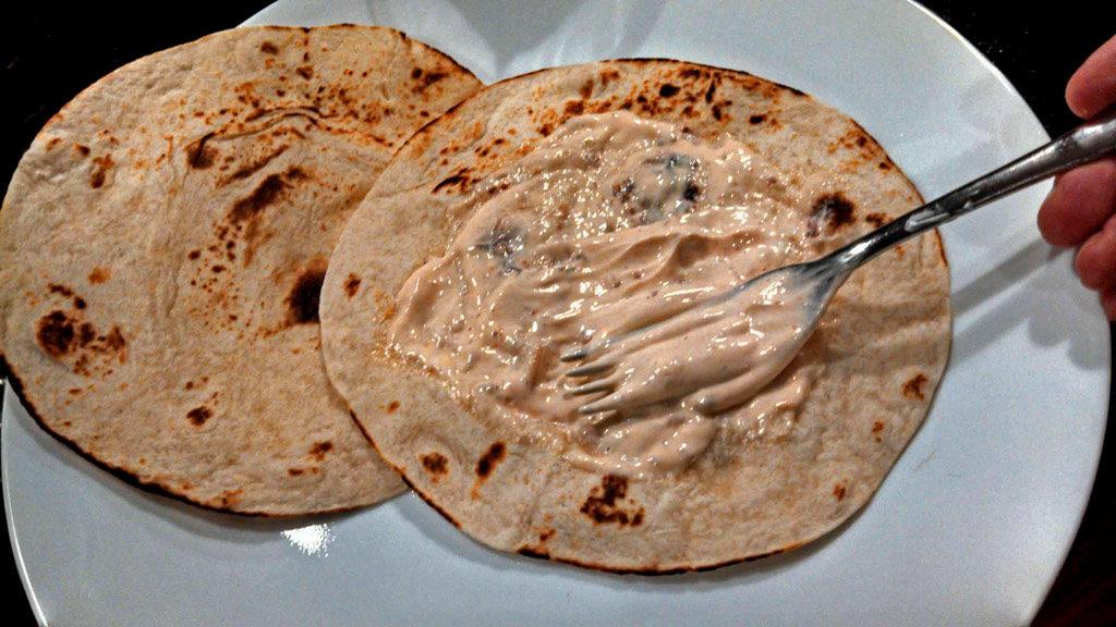 chipotle sour cream on tortilla