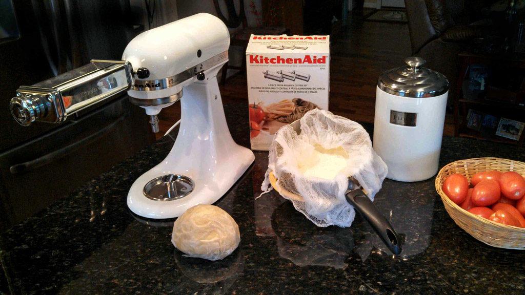equipment and ingredients to make homemade ravioli