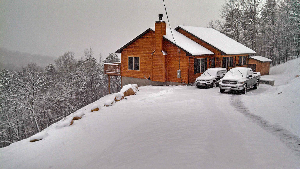 our home in the snow