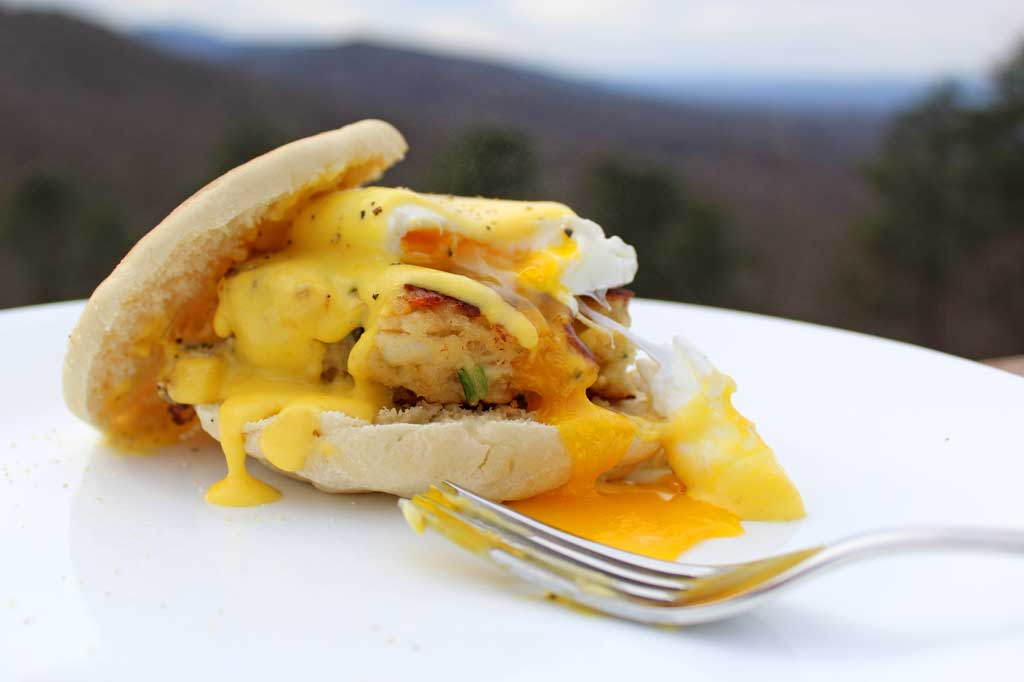 Crab Cakes Eggs Benedict with mountain view