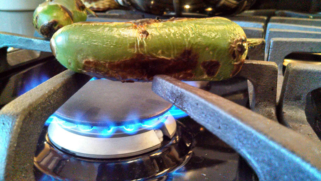 jalapeno roasting over open flame