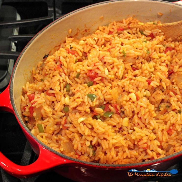 Mexican rice inside pot