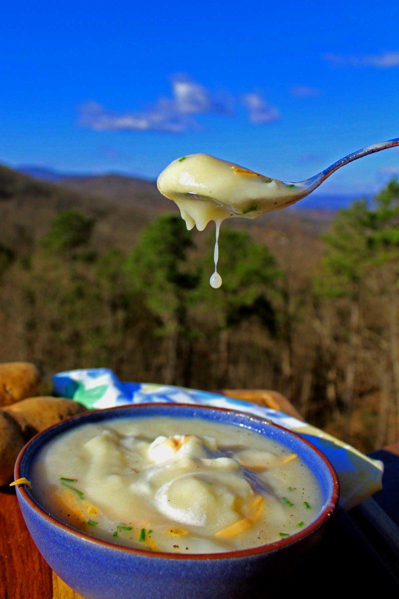Irish potato soup with mountain view