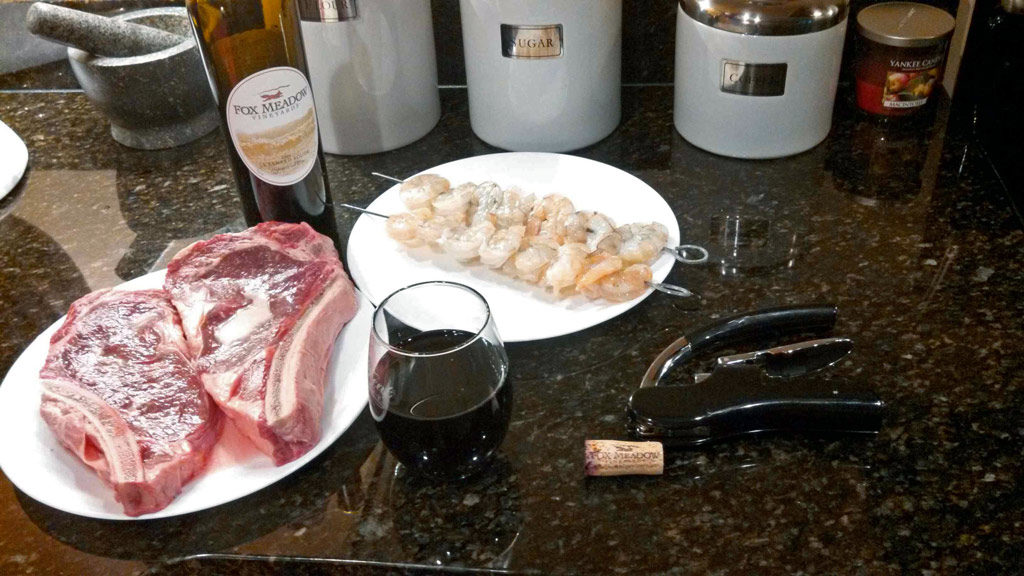 steaks and shrimp ready to cook