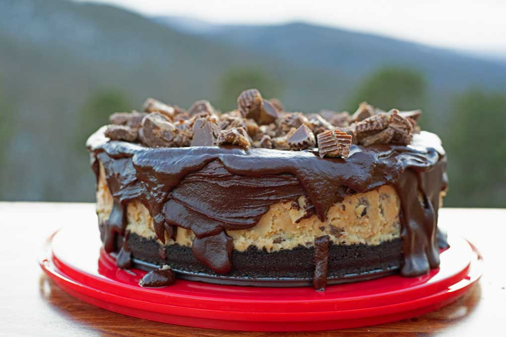 Reese's Peanut Butter Cheesecake with mountain view in background