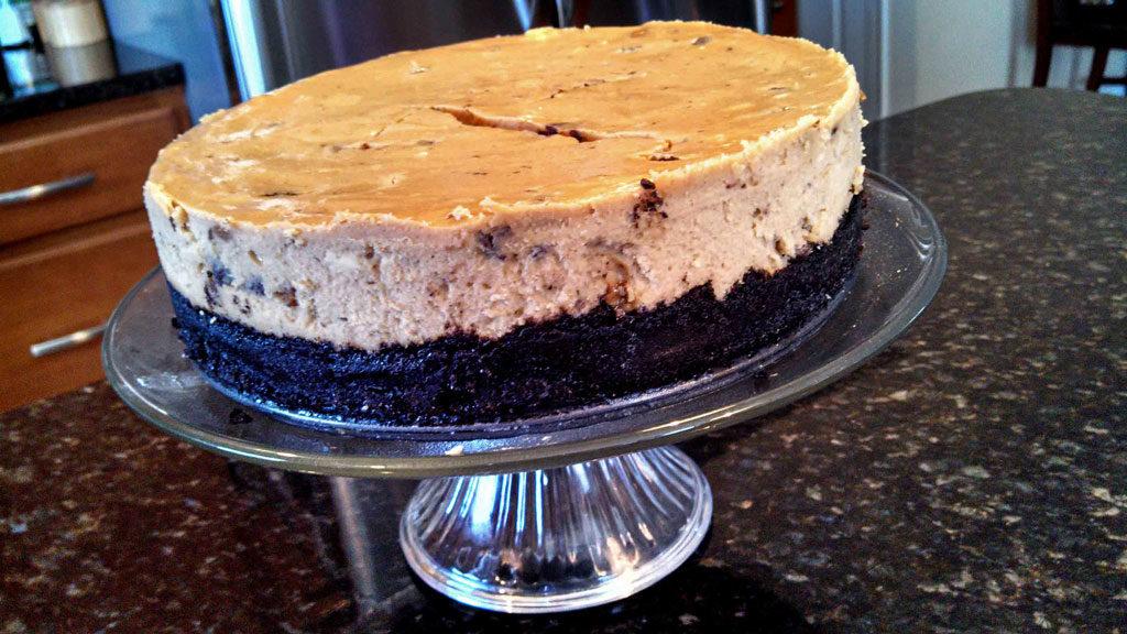 baked cheesecake before adding ganache