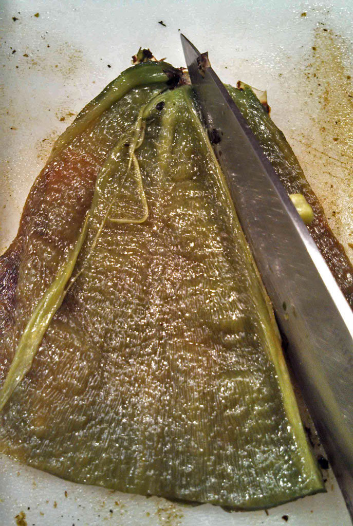 slicing poblano into strips